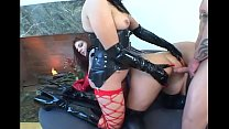 Fetish babes in pvc and stockings share cock