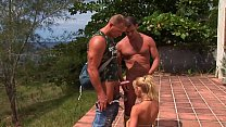 Brazilian blonde and the villa in the country with many cocks waiting