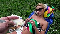 Serbian babe takes off shorts and fucks in public pornhub video