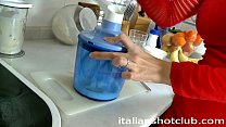 brunette girlfriend with short hair fucking in the kitchen thumbnail