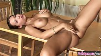 (Samantha Saint) fingers and shows dildo in her tight pussy right on her kitchen table - TWISTYS video