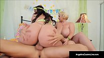 Cuban BBW Angelina Castro & Sam GG Take Turns Fucking John! porn thumbnail