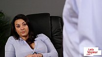 Classy babe instructs sub guy in her office pornhub video