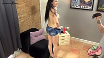 Sexy brunette does anything for money