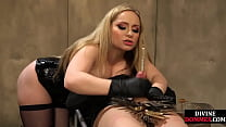 Strict mistress fists subs ass before rough hj