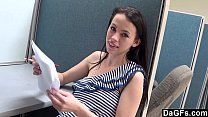 Quickie sex with petite teen at office