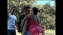 Chubby brunette latina blows two