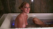 two young strippers taking a naked bath together and touching