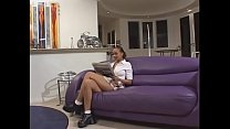 Ebony sweetie has hairy pussy sucked by white dude and fucked it too