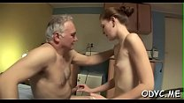 Juvenile slut enjoys old dick