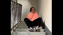 Boy Masturbates On Public Staircase In The Entrance And Cums