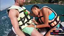 Jetski blowjob in public with his real Asian teen girlfriend