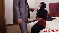 Arab chick gets her pussy expanded by her boss's big cock preview image