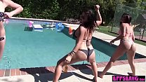 Naughty lesbian teen BFFs fingering pussy by the pool