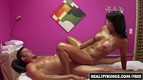 Fit assian teen (Mia Li) gets oiled up and uses full body to massage - Reality Kings