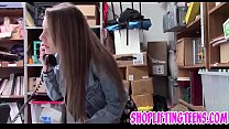 Slutty delinquent sucking and fucking mall cop for facial