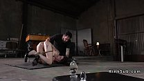 Exposed ass slave gets anal stretched />                             <span class=
