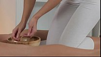 Blonde masseuse rubbing and oiling pussy to brunette hottie