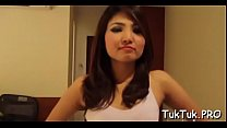 Slender thai beauty shows off her banging skills to some man