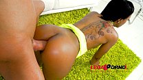 Noemilk first anal: ebony slut rides big cock S...