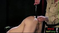 Restrained submissive toyed and fisted