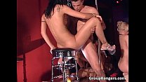 Two horny brunette and attractive blond