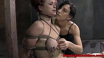 BDSM titty tortured Bella Rossi caned video