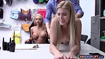 Two blonde shoplifter gets punish fucked
