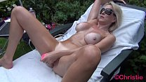 Cougar Christie does outdoor oily cam show with...