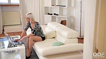 Horny blonde secretary Zazie Skymm fucks a Dildo in the Office