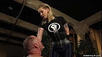 Femdom in leather pegging big man