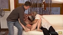 DADDY4K. Chick's shaved pussy is fingered by old man and son in turn preview image