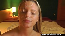Perky blonde gives head in point of view