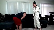 Karate lesson ends in creampie's Thumb