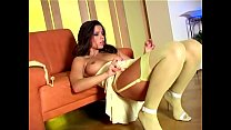 Long haired babe stripping out of her sexy nylons - Download mp4 XXX porn videos