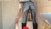 Cute girl piss in her jeans thumbnail