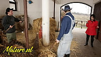 Hairy Horse Tamer Double Penetrated In Horse Stable For Her First Time