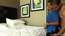 ROOM SERVICE! Slutty Latina maid Jolla fucks hotel guest and makes a mess in the room. صورة