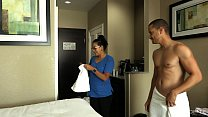 ROOM SERVICE! Slutty Latina maid Jolla fucks hotel guest and makes a mess in the room. Image