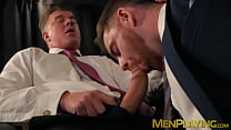 Businessman receives a wet blowjob before fucking his man