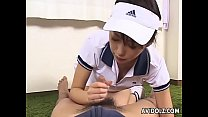 Image: Tennis loving hon sucking and fucking her man's penis