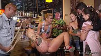 Busty blonde anal fucked in crowded bar