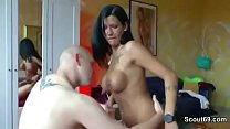 German Young Big Tit Mom DP Fucked by two Friends of Son thumbnail