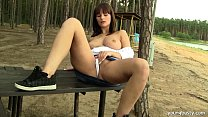 8300 Busty teen Rita masturbate outdoors preview