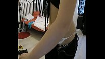 Tattooed redhead dances in a casual outfit