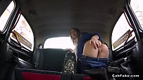Nice brunette amateur babe fucks in fake taxi