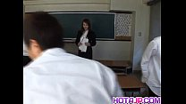 Mei Sawai Asian busty in office suit gives hot blowjob at school thumbnail