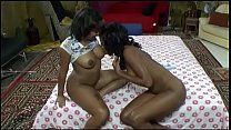 Young black babes Carla Chillz and Lacey with natural tits eat each other's pussy in bed