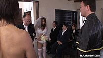 During her wedding she has to suck on a hard wi...
