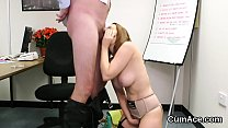 Feisty beauty gets cum load on her face gulping all the jizz